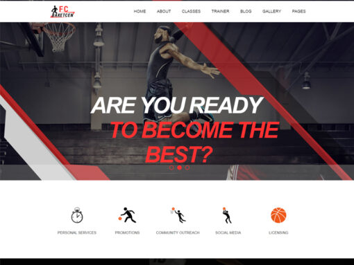 Website design for a basketball sports business